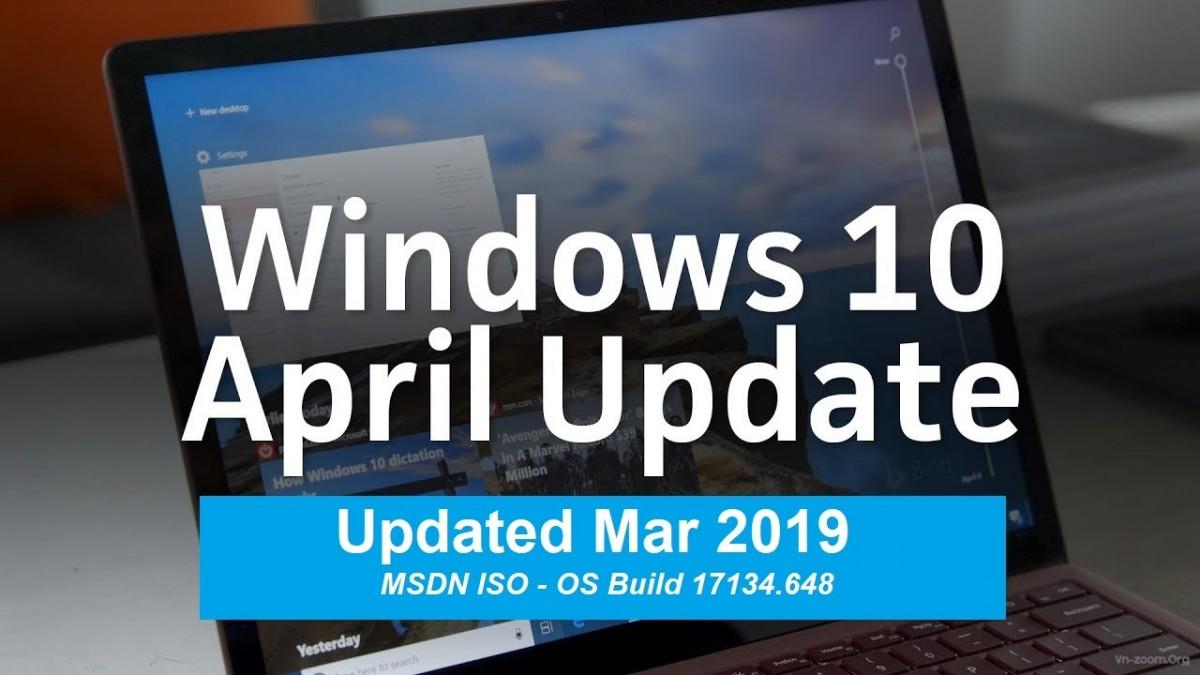 Windows 10 Version 1803 Updated Mar 2019 - MSDN ISO - 17134 648 - VN