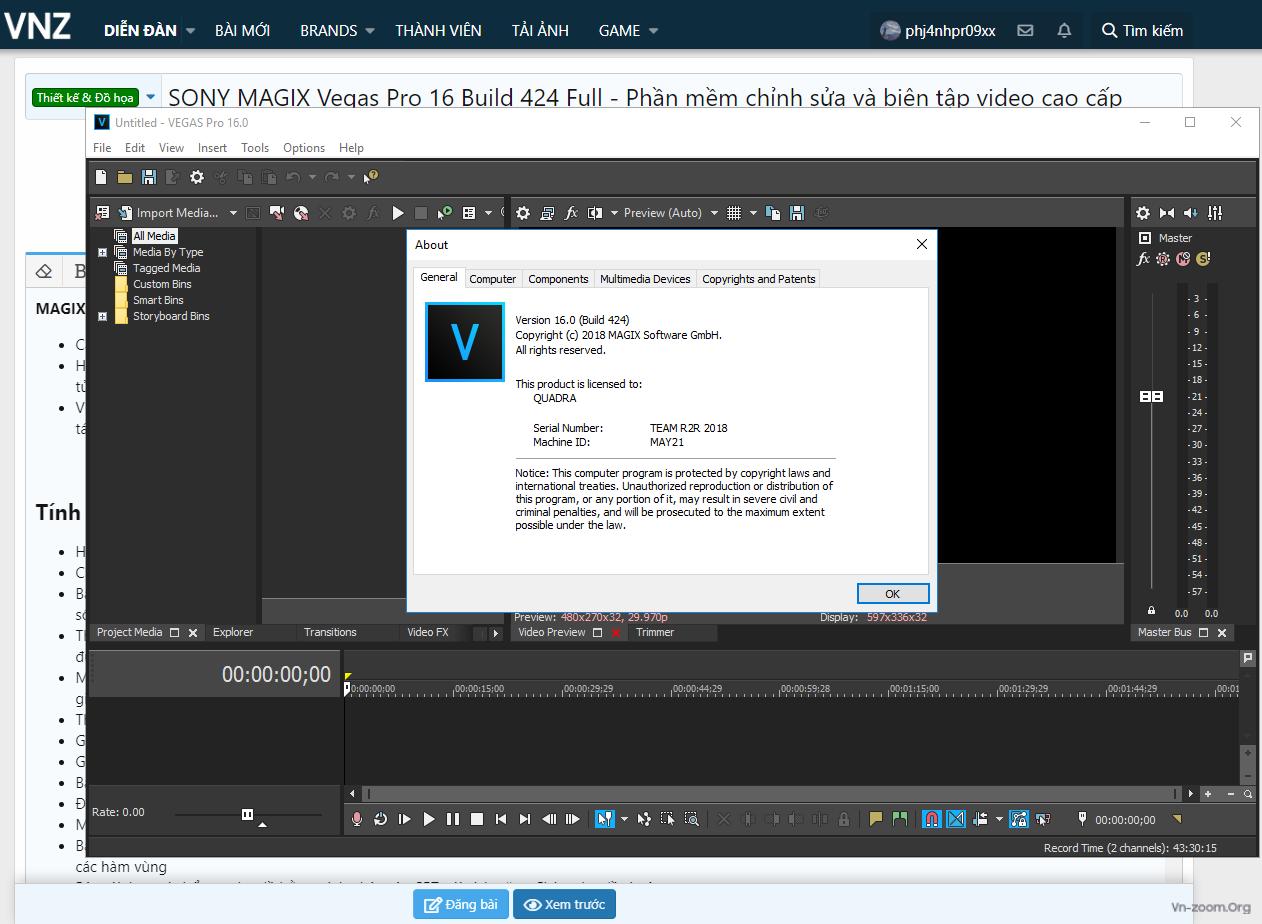 Thiết kế & Đồ họa - SONY MAGIX Vegas Pro 16 Build 424 Full - Phần